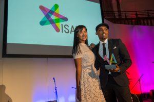 Maya Jama, Radio/TV host, presenting the Best Entertainment Award to Mo Ali. (The winner 2016)